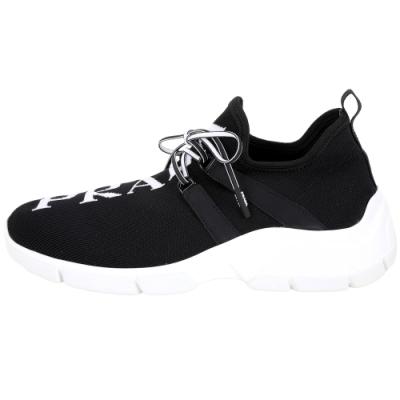 PRADA Knit Logo針織面料繫帶運動鞋(女鞋/黑色)