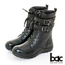 【bac】中性時尚率性綁帶率性短靴-黑色
