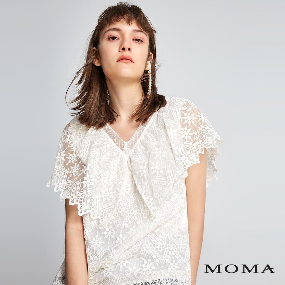 MOMA V領烏干紗蕾絲上衣