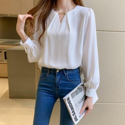 法式小香風V領純色寬鬆雪紡衫S-2XL(共三色)-白色戀人