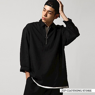 寬版拉鍊套頭襯衫(5色) ZIP日本男裝