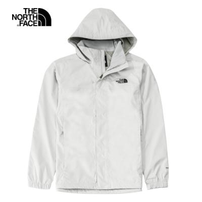 The North Face北面男款灰白色防水透氣耐磨連帽衝鋒衣|49F79B8