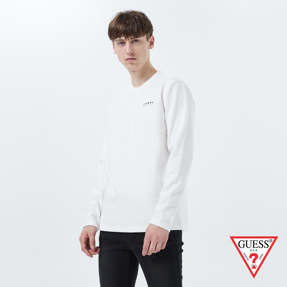 GUESS-男裝-雙色刺繡LOGO長袖上衣-白 原價2990