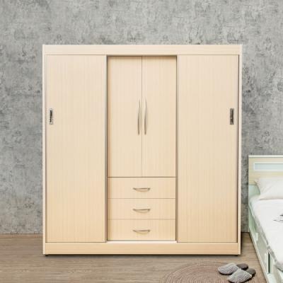 Birdie南亞塑鋼-6.2尺二開門三抽二推/拉門塑鋼衣櫃(白橡色)-187x61x200cm