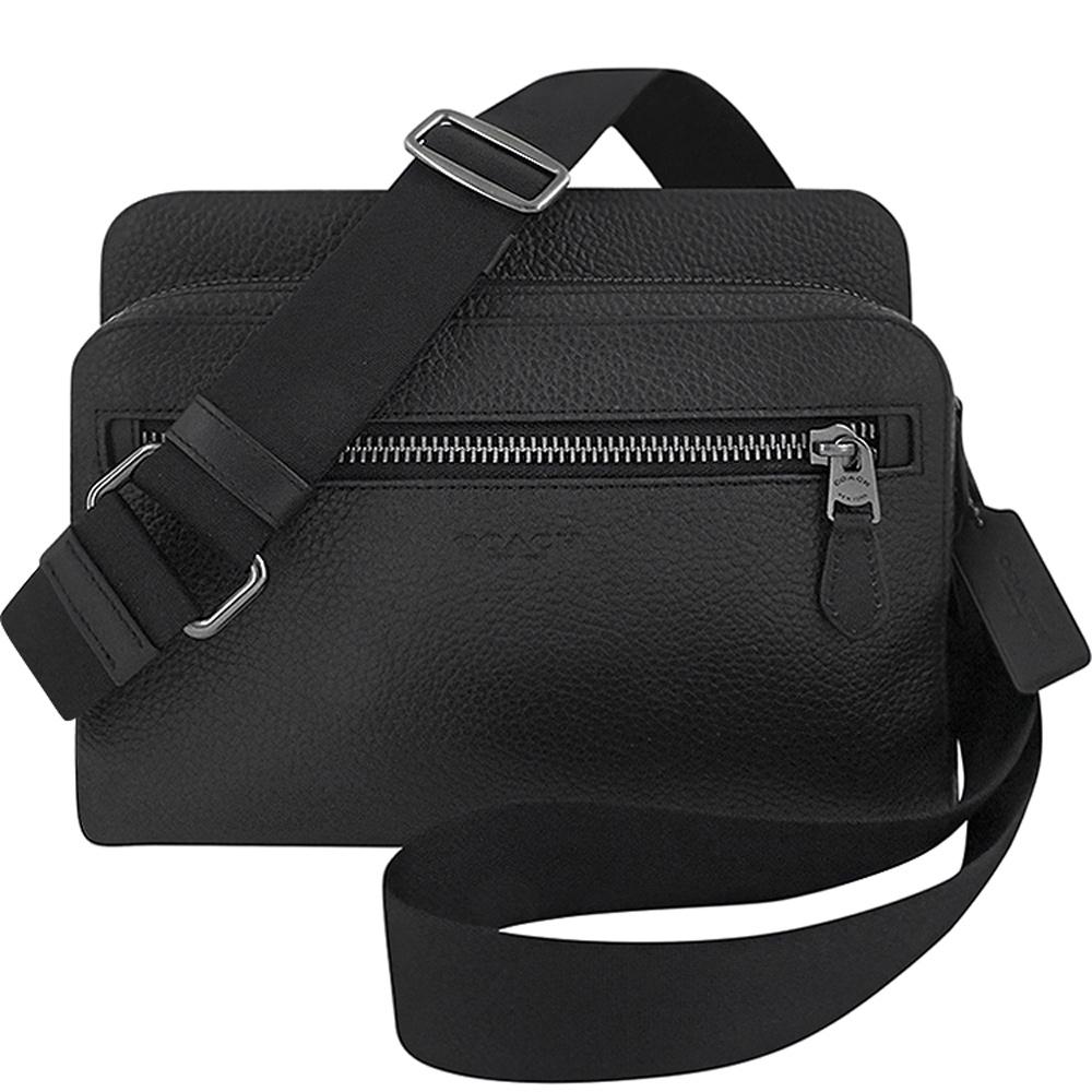 COACH 黑色荔枝紋皮革方形斜背相機包-大型
