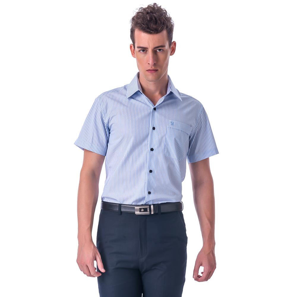 金‧安德森 藍色條紋黑釦窄版短袖襯衫