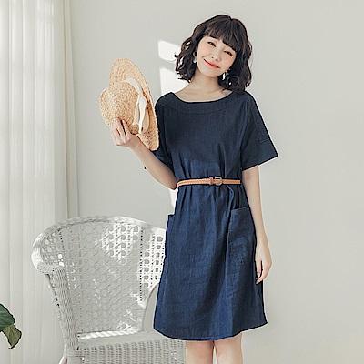高含棉單寧短袖洋裝(附腰帶)-OB嚴選