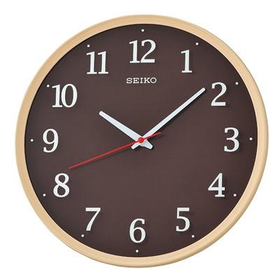 SEIKO 日本精工 滑動式秒針 靜音掛鐘(QXA731A)-卡其木紋外框/31.2cm