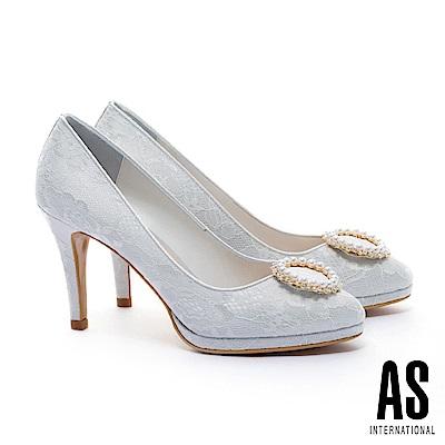 高跟鞋 AS 奢華珍珠白鑽圓釦蕾絲美型高跟鞋-白