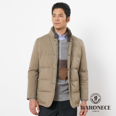 BARONECE 百諾禮士休閒商務 男裝 進口材質立領羽絨夾克外套--卡其色(1196701-85)