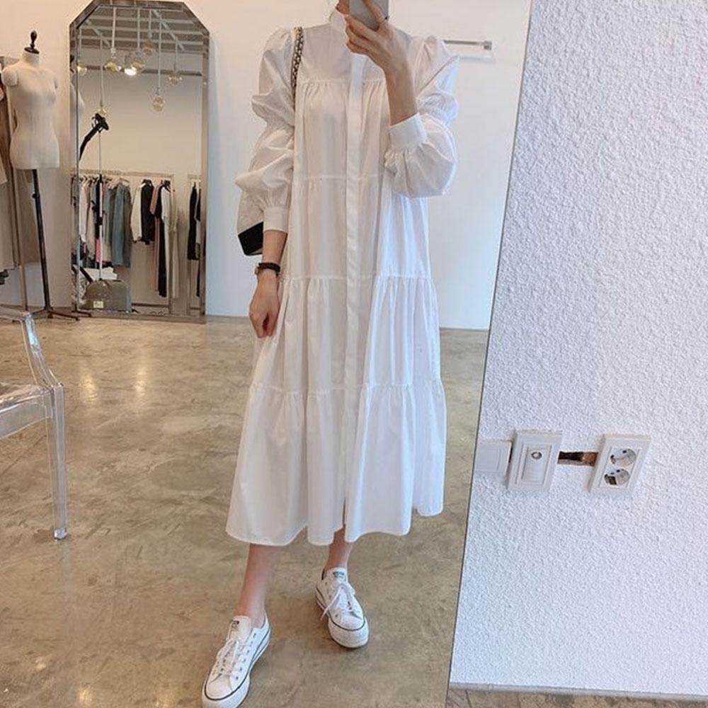 【KISSDIAMOND】泡泡袖氣質立領單排扣寬鬆長洋裝(簡約/百搭/文青/KDD-747)