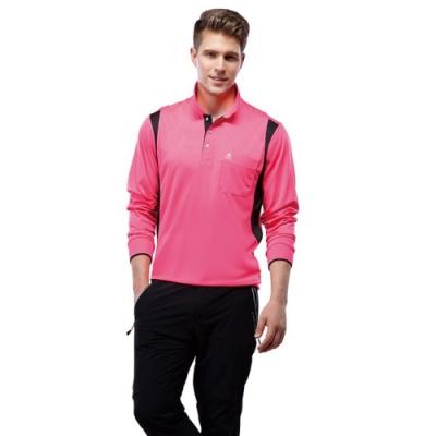 SPAR彩雲紋吸排布男版長袖POLO衫SP69413螢光桃紅