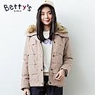 betty's貝蒂思 翻領壓摺感鋪棉大衣(淺卡其)