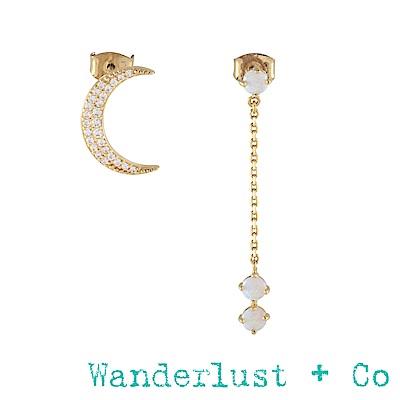 Wanderlust+Co新月蛋白石垂墜不對稱耳環