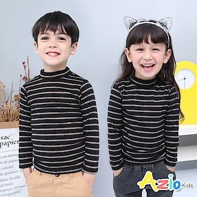Azio Kids 上衣 磨毛條紋長袖保暖衣(黑底咖條)