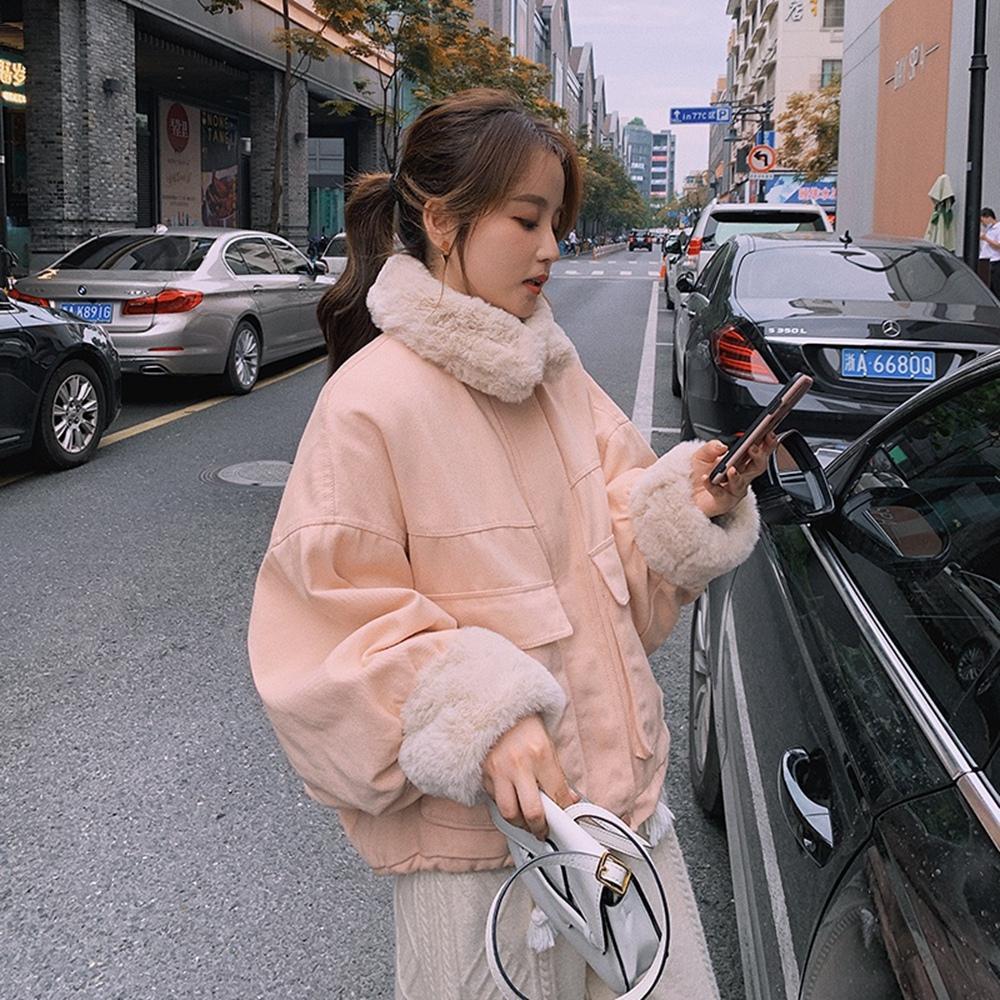 暖呼蓬鬆毛領拼接保暖寬鬆外套S-L(共五色)-WHATDAY (淺粉)