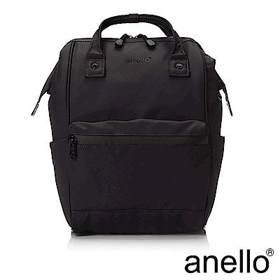 anello 率性簡約膠感防潑水後背包 黑色 M