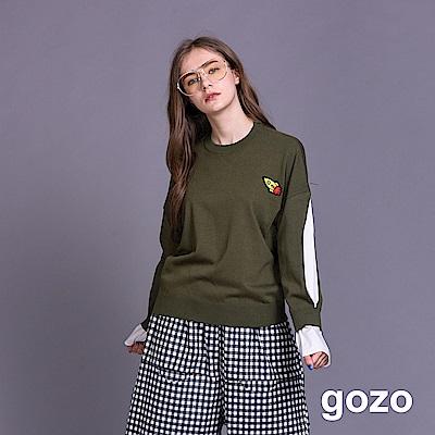 gozo 趣味火箭繡標假二件針織上衣(二色)