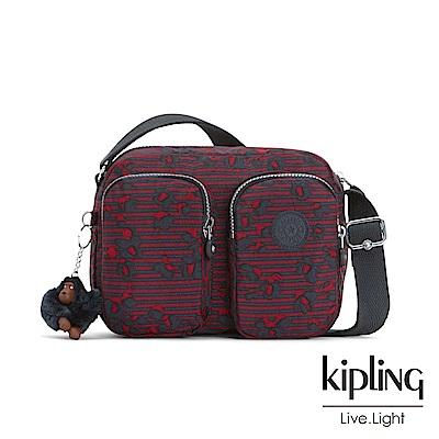 Kipling 高雅紅花條紋雙拉鍊前口袋側背包-PATTI