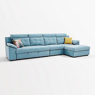 hoi! 林氏木業簡約兩用高背乳膠四人布沙發床+腳凳 967-淺藍色 (H014296088)