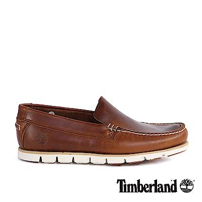 Timberland 男款咖啡色粒面皮革威尼斯鞋