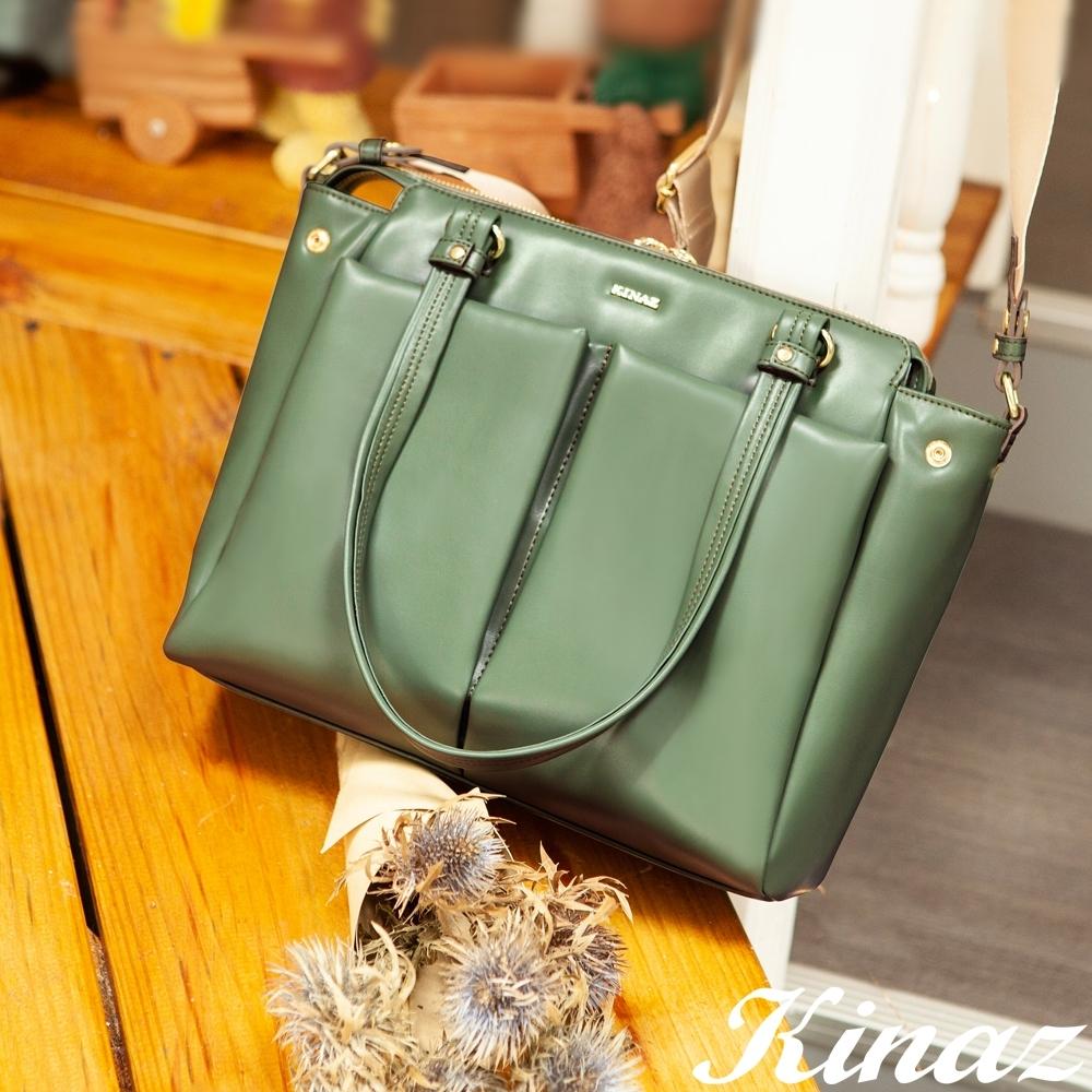 KINAZ 柔軟大容量斜背托特包-煙燻抹綠-永生花系列
