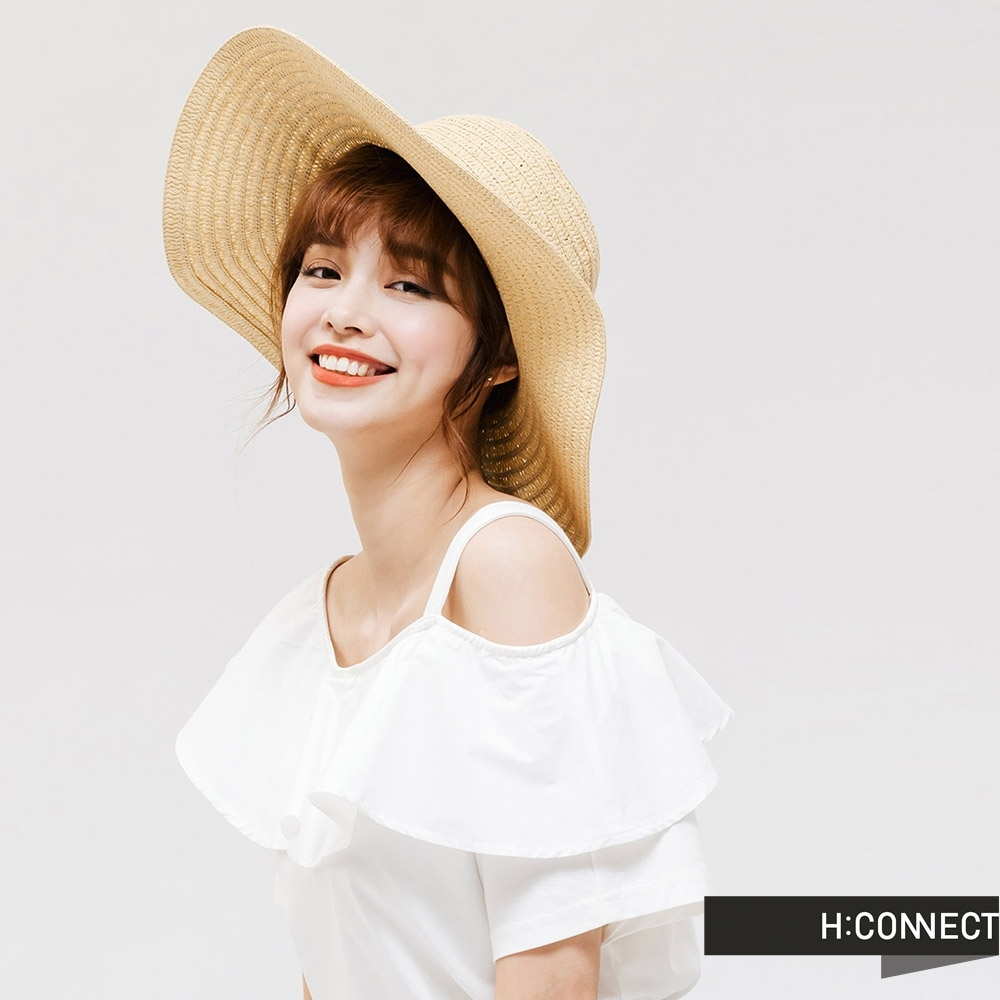 H:CONNECT 韓國品牌 配件 -刺繡文字編織草帽