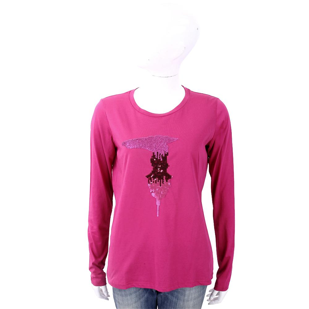 TRUSSARDI T 亮片字母桃紫色棉質T恤 @ Y!購物