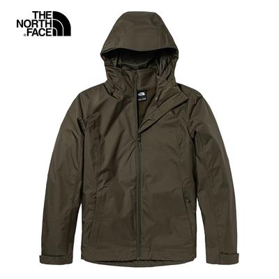 The North Face北面女款墨綠色防水透氣連帽三合一外套 5AZW79L