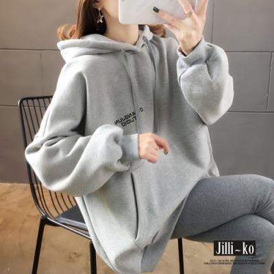 JILLI-KO 韓版寬鬆百搭內刷毛連帽大學T- 灰色