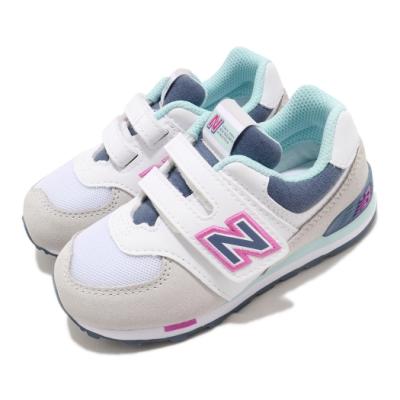 New Balance 休閒鞋 574 Wide 寬楦 運動 童鞋 紐巴倫 魔鬼氈 舒適 小童 穿搭 米白 灰藍 IV574NLHW