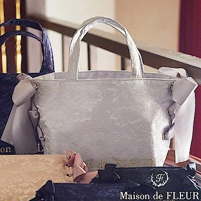 Maison de FLEUR 蕾絲花邊側綁帶手提包