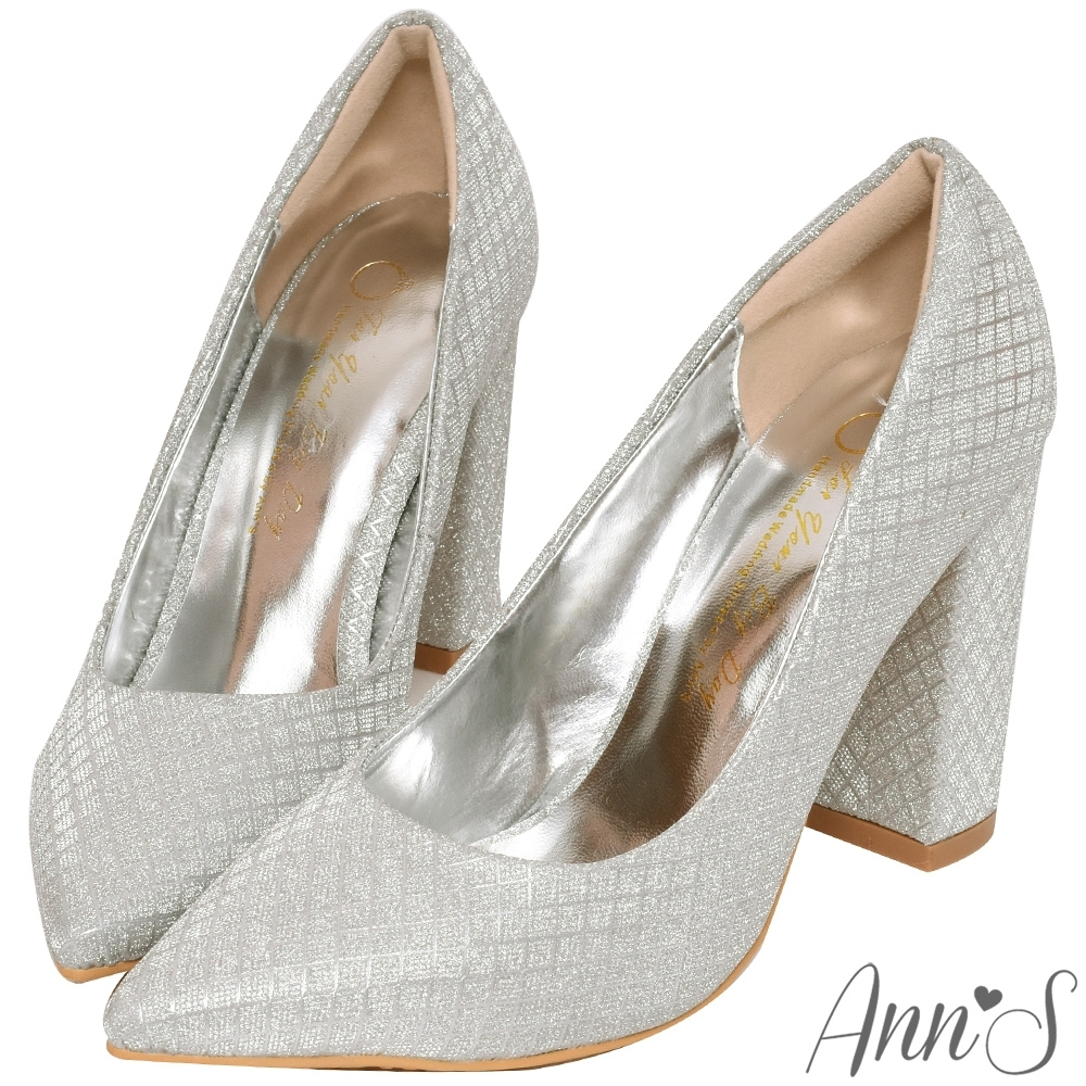 Ann'S閃耀光彩-名媛菱格紋粗跟高跟尖頭鞋-銀