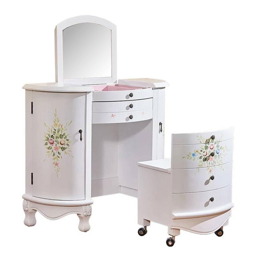 Asllie維妮手工彩繪化妝桌椅組(白)-91x42x80cm