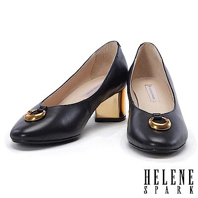 高跟鞋 HELENE SPARK 都市時尚金屬圓環真皮粗跟高跟鞋-黑