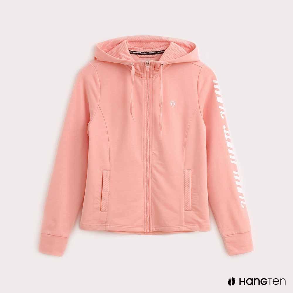 Hang Ten-ThermoContro-女裝長袖印字機能連帽外套-粉