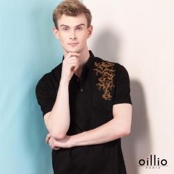 oillio歐洲貴族 頂級天絲棉柔軟質感POLO衫 精緻圖樣刺繡 黑色