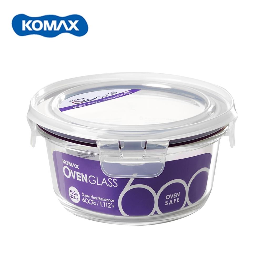 韓國Komax 扣美斯耐熱玻璃圓型保鮮盒(烤箱.微波爐可用)950ml