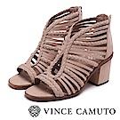 VINCE CAMUTO 優雅編織簍空粗高跟涼鞋-粉色
