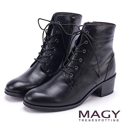 MAGY 粗曠中性帥氣 嚴選蠟感牛皮拉鍊綁帶軍靴-黑色