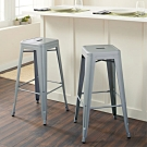E-home Yanni亞尼工業風可堆疊金屬吧檯椅-高76cm 銀色