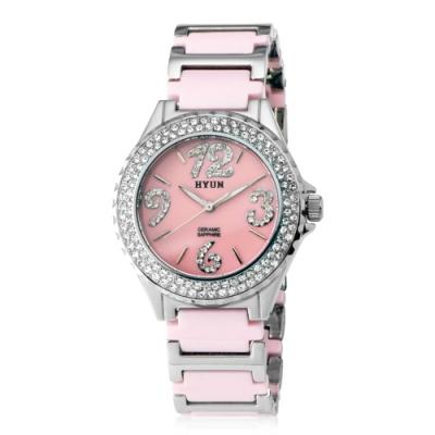 HYUN炫 鑽石設計陶瓷錶-粉陶瓷粉底白鑽