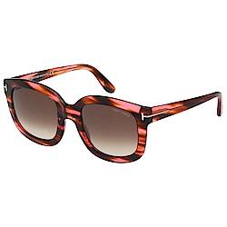TOM FORD 大方框 太陽眼鏡-透明紅豹紋-TOM279
