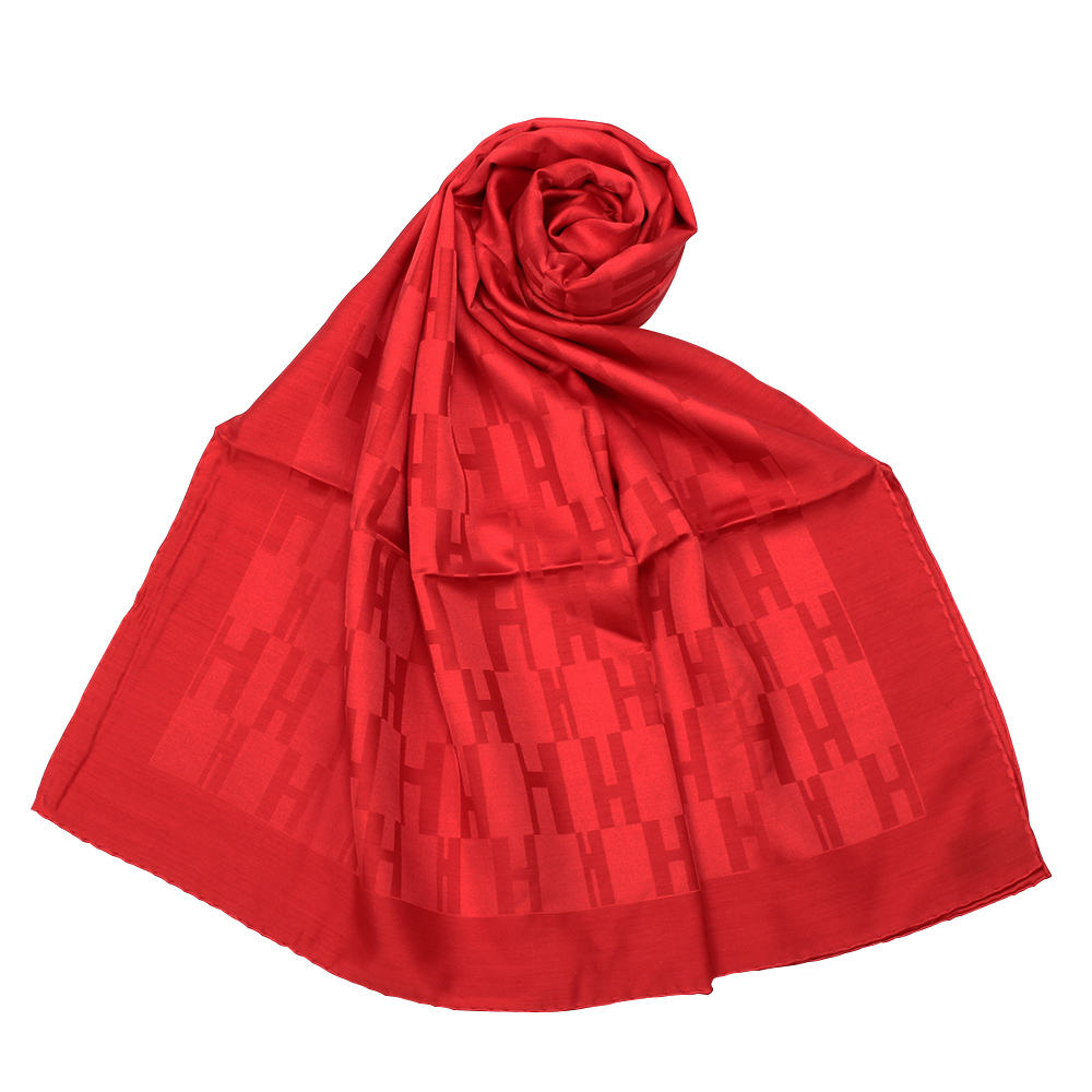 HERMES Faconnee Muffler 經典H Logo 羊絨混絲圍巾-(紅色)