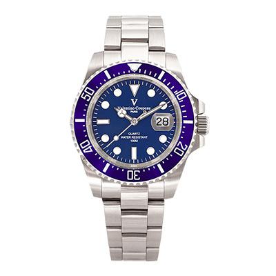 Valentino Coupeau 范倫鐵諾 古柏 陶瓷水鬼腕錶【銀色/藍面/鋼帶】