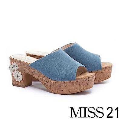 拖鞋 MISS 21 復古蕾絲花造型魚口高跟拖鞋-藍
