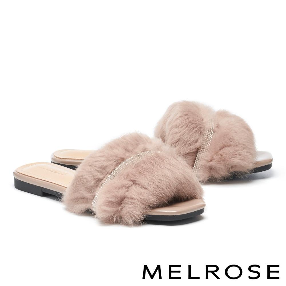 拖鞋 MELROSE 奢華時尚兔毛鑽條平底拖鞋-米