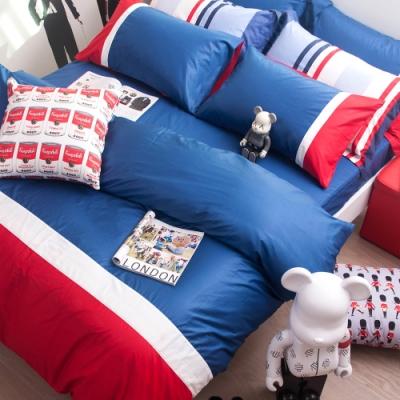 OLIVIA  英國藍 白 紅 加大雙人床包冬夏兩用被套四件組 200織精梳棉 台灣製
