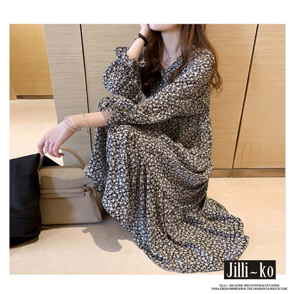 JILLI-KO V領碎花縮腰連衣裙- 黑色