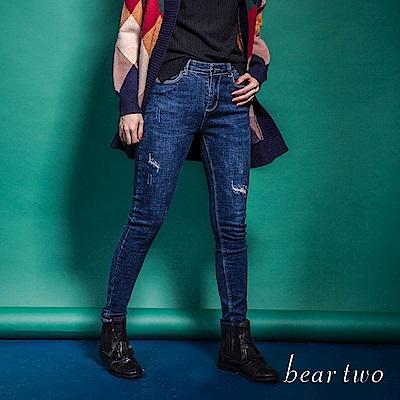 beartwo 經典丹寧窄版鉛筆褲(藍色)